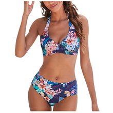 Sagace retro praia impressão casual bikini conjunto de biquíni 2020 sexy maiô tanga roupa de banho
