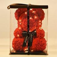 2019 Romantic Valentine's Day Plush 40cm Rose Teddy Bear Gift Birthday Present Christmas Wedding Multicolored Artificial Flowers