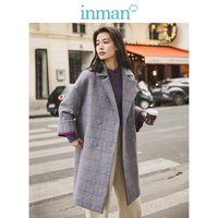 INMAN 2019 Winter New Arrival Literary Funny Embroidery Plaid Women Woolen Pea Coat