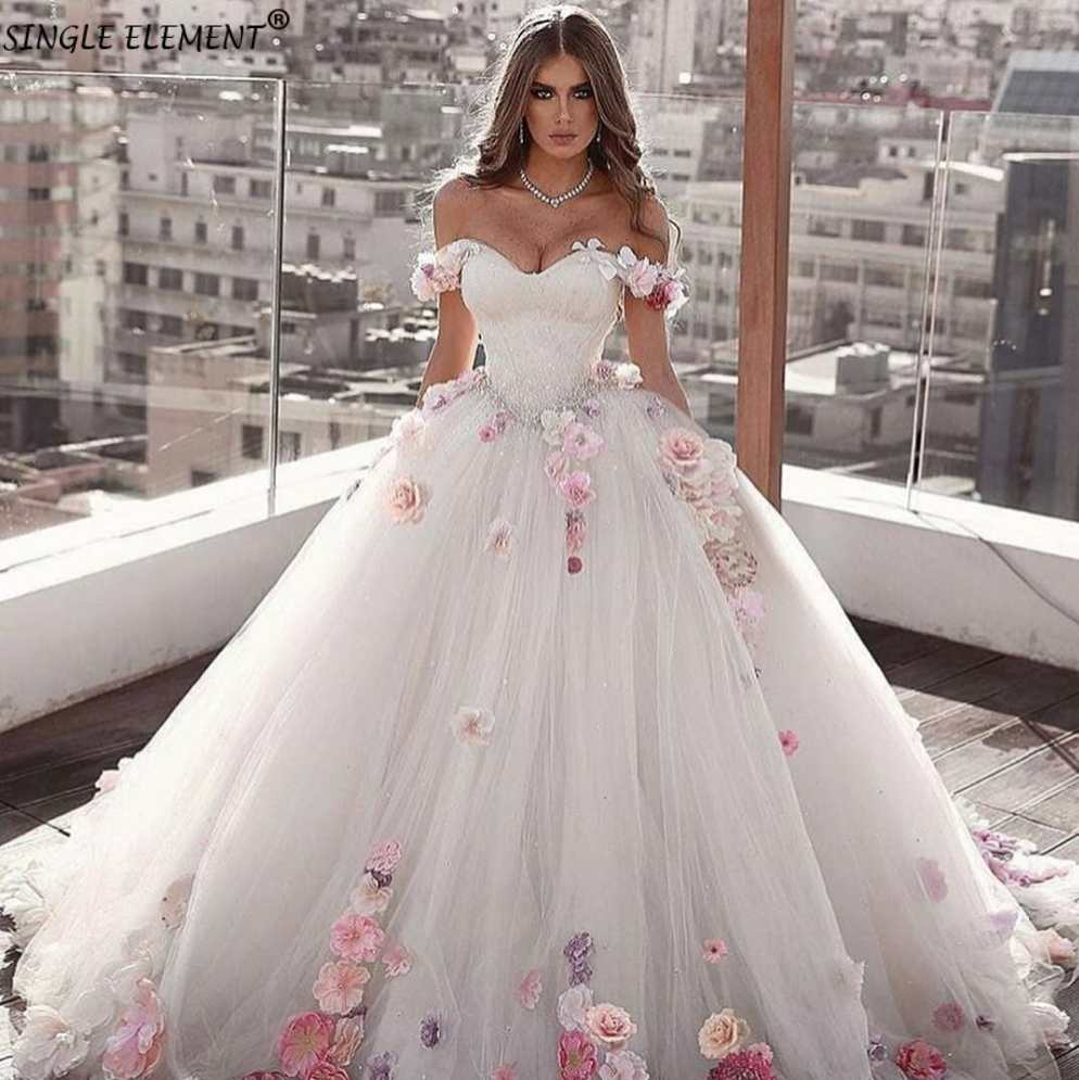 Fairy Off The Shoulder Dubai Ball Gown Flowers Plus Size Bridal Wedding Dresses