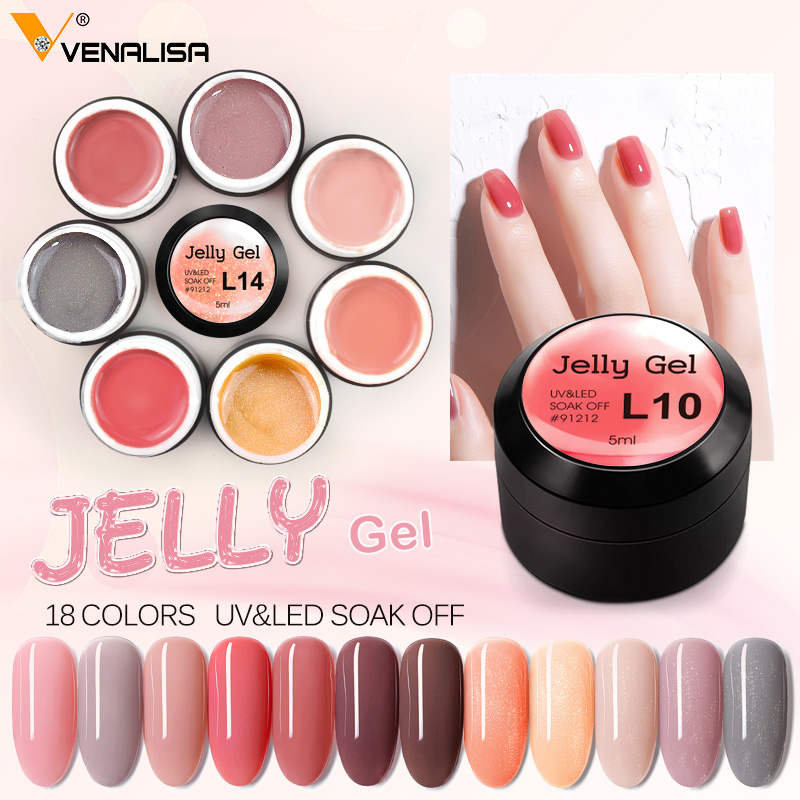 Venalisa New Arrival Jelly Gel Semi-transparent Color Nail Gel Polish Clear Pink French Gel Varnish Soak Off UV LED Gel Lacquer