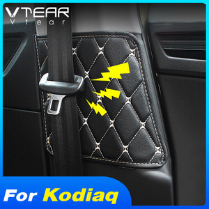 Vtear For Skoda Kodiaq Car Seat Safety Belt Protective Pad car-styling Crash Mat Cover accessories interior decoration auto 2020