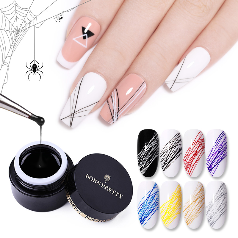 BORN PRETTY Nail Wire Drawing Gel Polish Creative Point To Line Painting Gel Polish Spider Thick Elastic Paint 5ml 27 Colors