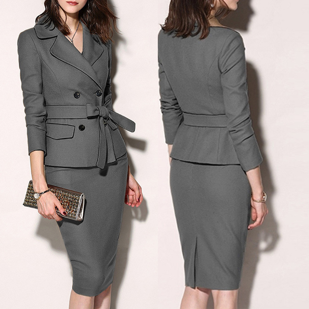 2019 Fall Party Dress Womens Suit Solid Ol Gray Pencil Buttons Dress Deep V Neck Long Sleeve Elegant Slim Bodycon Work Dress#3
