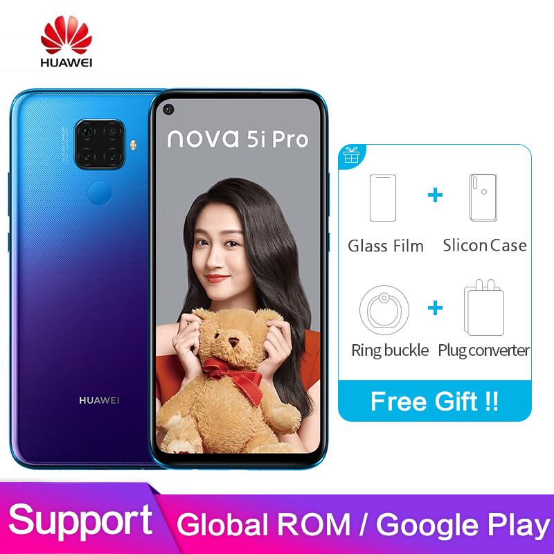 Huawei Nova 5i Mundial Pro Apoio ROM Google play 6.26 polegada Tela Cheia 8GB 128GB Kirin 810 Octa núcleo Câmera Quad Smartphon 48MP