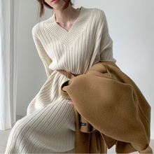 New Vintage Warm Autumn Sweater Women Dress Winter Long Sweater Knitted Dresses loose Maxi Oversize