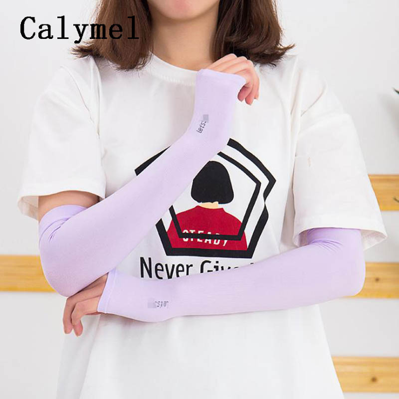 Calymel New Outdoor Sun UV Protection Hand Protector Cover Arm Sleeves Ice Silk Sunscreen Sleeves Arm Warmer Sleeves