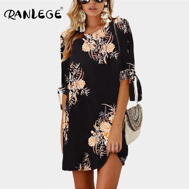 2020 Women Summer Dress Boho Style Floral Print Chiffon Beach Dress Tunic Sundress Loose Mini Party Dress Vestidos Plus Size 5XL(China)