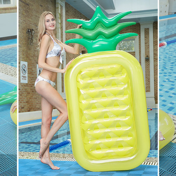 Swimming Pool Inflatable Pineapple Floating Row Double Color Bed Adult Ring Water Air Cushion