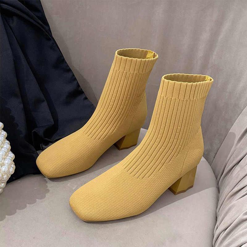 Tino Kino Nữ Thu Đông Vớ Giày Trượt Trên Mắt Cá Chân Giày Nữ Co Giãn Đan Giày Nữ Gót Vuông Cổ Người Phụ Nữ giày
