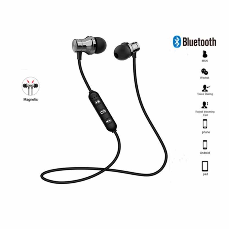 Daya Tarik Magnet Bluetooth Earphone Headset Sweatproof Sport Earbud Kabel Muda Earphone Build-In MIC Wireless Headphone