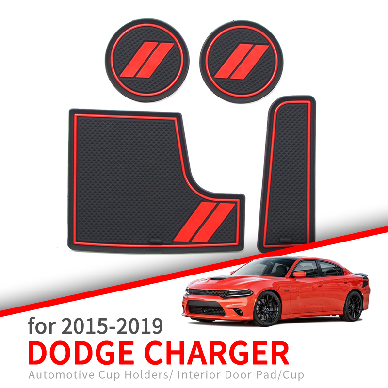 ZUNDUO Anti-Slip Cup Holder Mat For Dodge Charger 2015 2016 2017 2018 2019 Accessories Rubber Coaster Non-slip Mat Pad