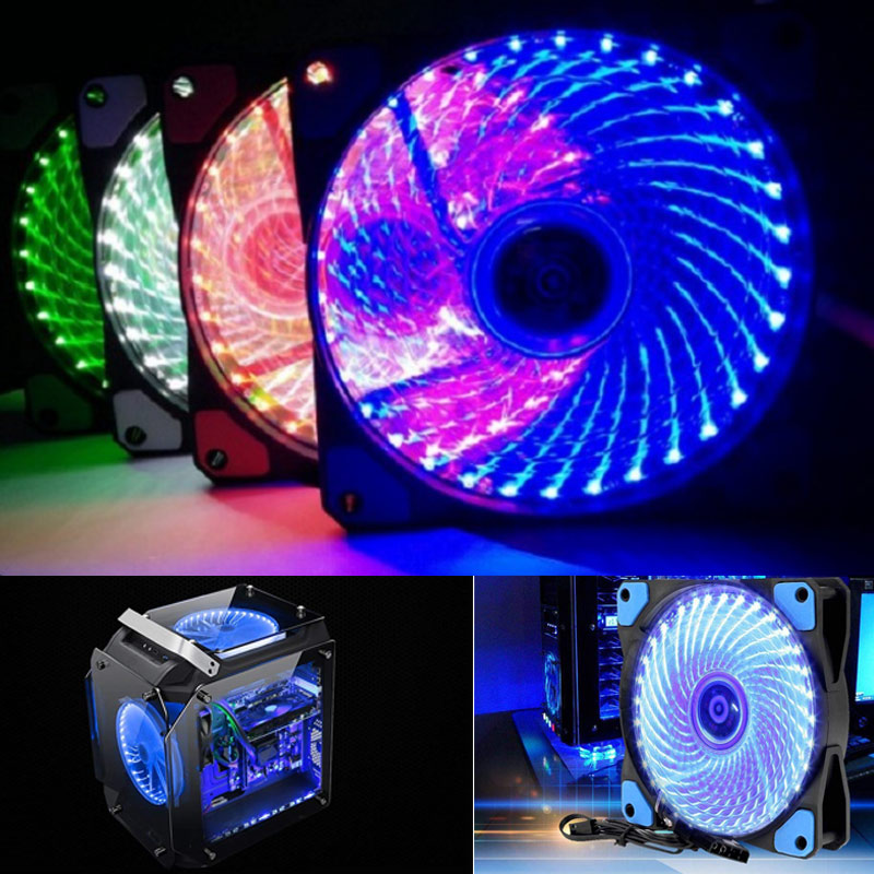 1/2Pcs <font><b>120mm</b></font> PC Case <font><b>Cooling</b></font> <font><b>Fan</b></font> Super <font><b>Silent</b></font> Computer LED High Airflow Cooler <font><b>Fans</b></font> SGA998 image