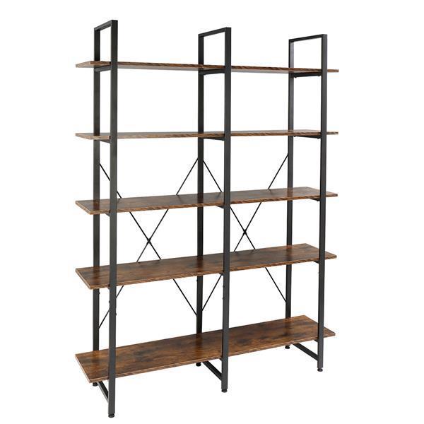 Double Wide Industrial 5-Tier Open Bookcase Shelves 4