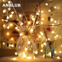 ANBLUB Año Nuevo 1,5 M 3M 6M LED cadena de bolas de hadas guirnalda de luces para árbol de Navidad boda interior vacaciones decoración al aire libre