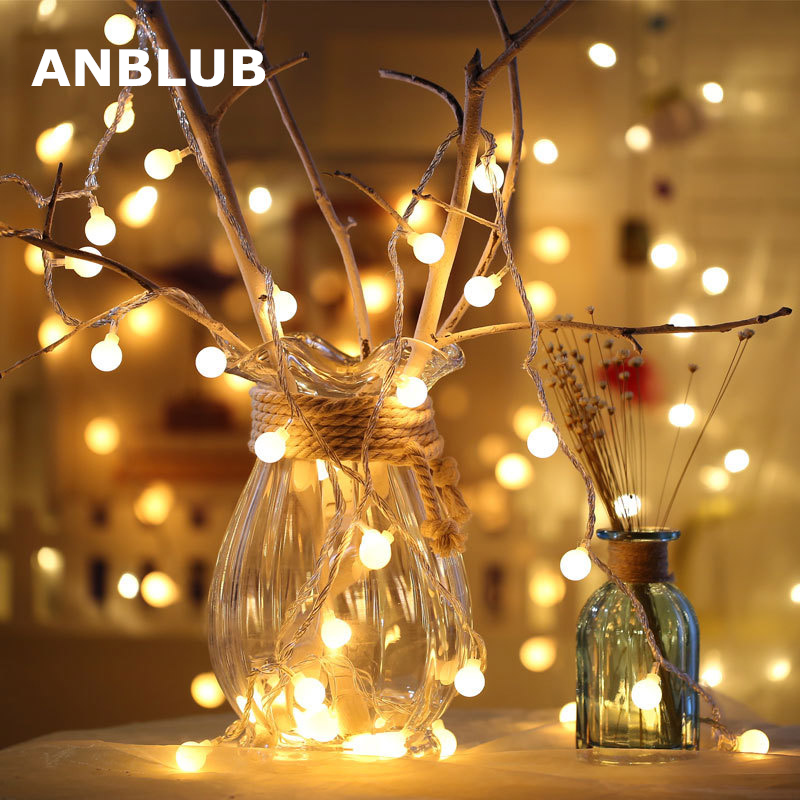 ANBLUB New Year 1.5M 3M 6M LED Ball String Fairy Lights Garland For Christmas Tree Wedding Indoor Holiday Outdoor Decoration
