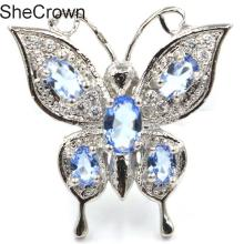 Fantastic Butterfly Rich Blue Violet Tanzanite CZ Gift For Sister 20x12mm