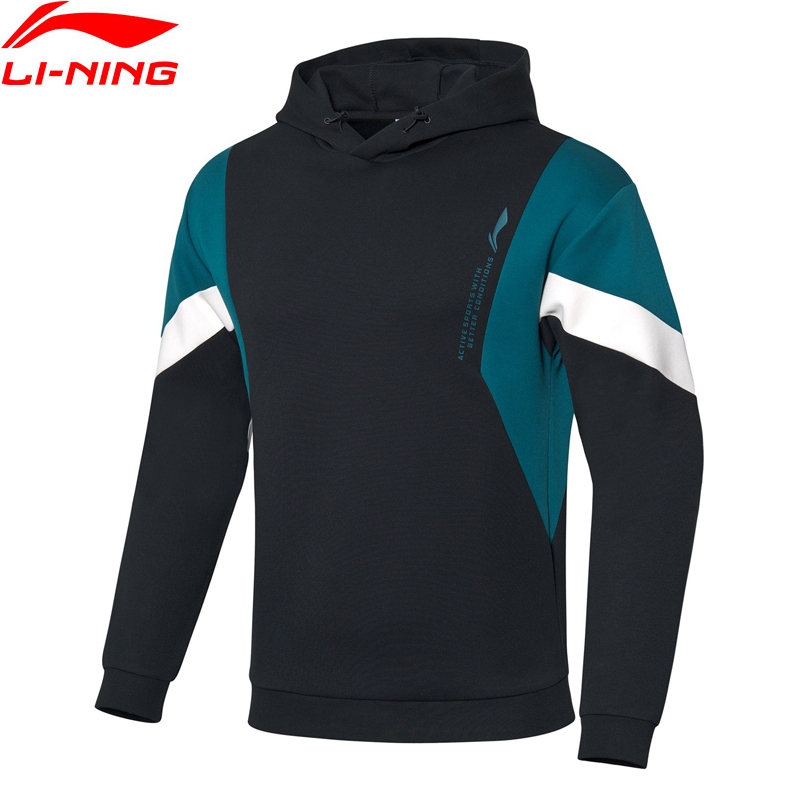Li-Ning Men Training Hoodie Regular Fit 65% Cotton 35% Polyester Classic LiNing Li Ning Hooded Sports Coats AWDQ107 MWW1642