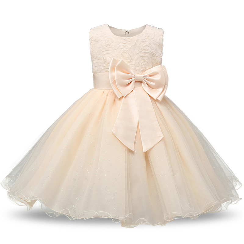 Summer Flower Bow Girl Dress Wedding Birthday Party Kids Dress For Girls Tutu Embroidery Princess Formal Dress Baby Girl Clothes 4