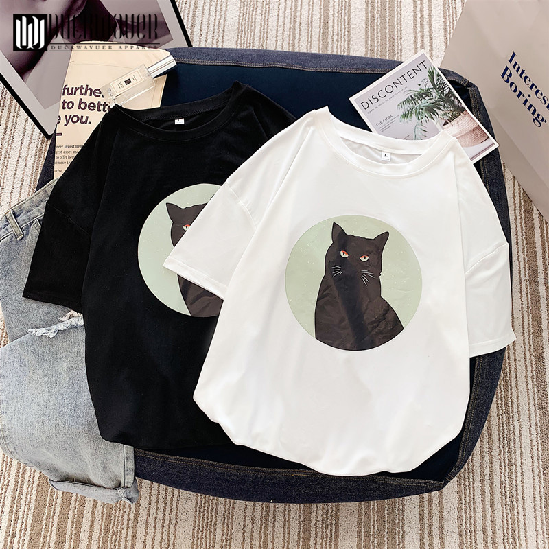 Duckwaver Women Chic Fashion Cat Printed T Shirt O-neck Short Sleeved Animal Print Basic Tshirt Vogue Top Tees Female