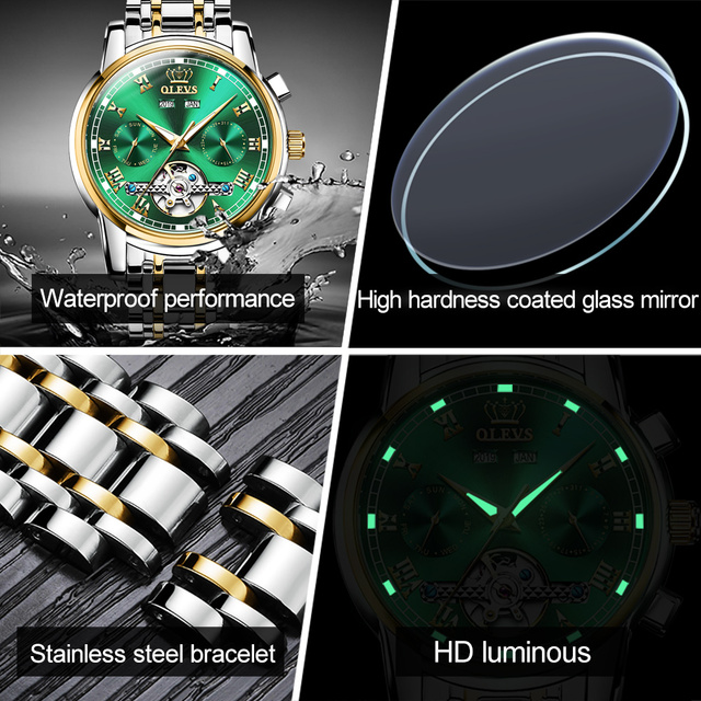 Olevs automatic mechanical men watches stainless steel waterproof date week green fashio classic wrist watches reloj hombre