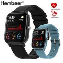 Hembeer p8 1.4 polegada relógio inteligente masculino toque completo de fitness rastreador pressão arterial relógio inteligente feminino gts smartwatch para xiaomi iphone