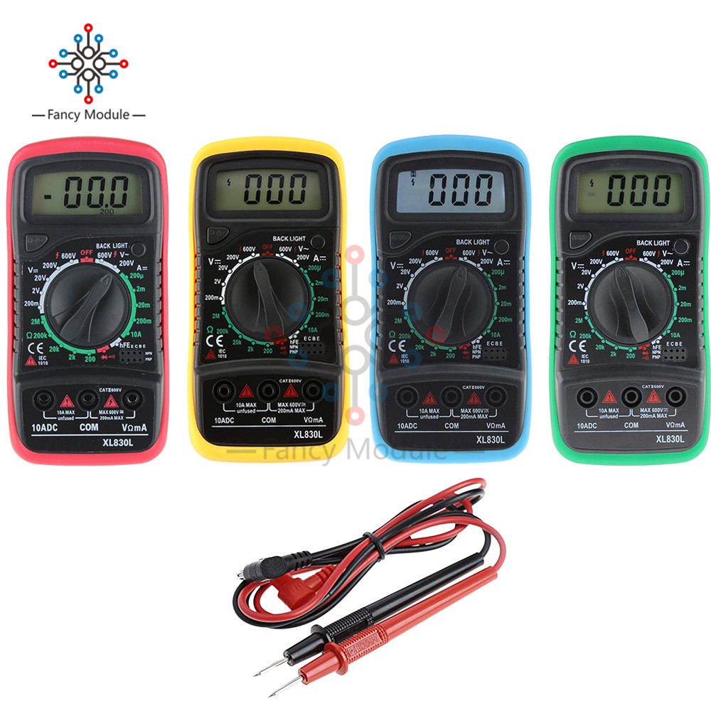 Diymore XL830L LCD Display Backlight Portable Multimeter AC DC Voltmeter Ammeter Ohmmeter Voltage Current Tester With Test Leads