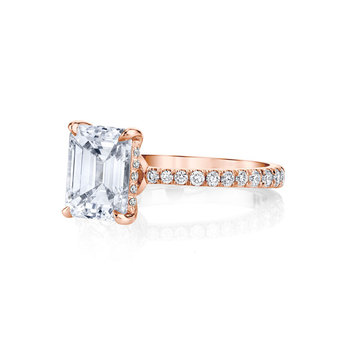 14K  Gold Moissanite Solitaire Emerald Cut Engagement Ring  2