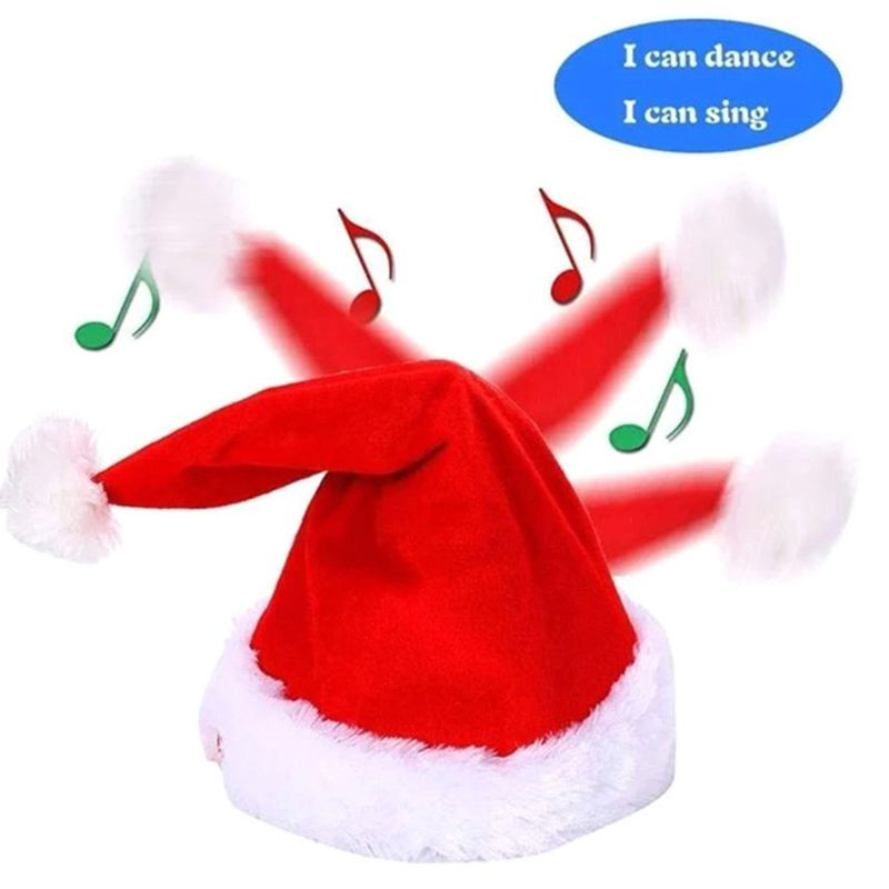 Adult Kids Musical Electric Christmas Hat Singing Dacning Swing Santa Claus Cap