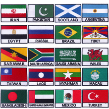 Pulaqi National Flags Embroidered Patches For Clothing Russia Mexico Patch Badge Iron On Patches On Clothes For T-shirt Applique embroidered patches united states new york state flag patch tactical 3d national flags army armband badge