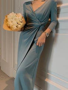 Knitted Dress Long-Robe Elegant Autumn Women Vintage V-Neck Regular Vestidos Slim Mujer