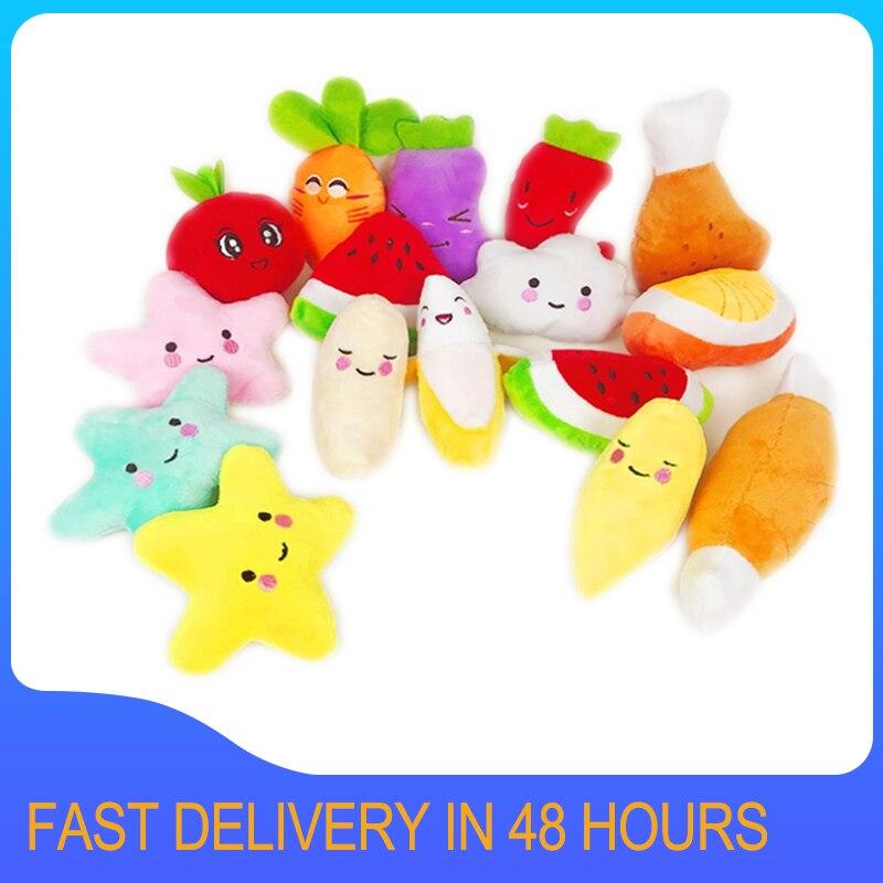 1pc Sounding Welpen Hund Kauen Spielzeug Obst Gemüse Huhn Trommel Knochen Squeak Spielzeug für Katze Haustiere Plüsch Rot Pfeffer aubergine Rettich