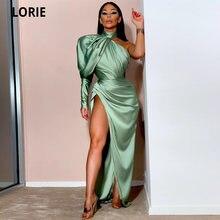 Лори Блестящий оливково зеленое платье Русалка с пышным рукавом