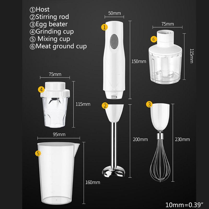 Электрический ручной блендер набор 4-в-1 ручной миксер Многофункциональный венчик измельчитель яичный венчик для взбивания смешивания сред...