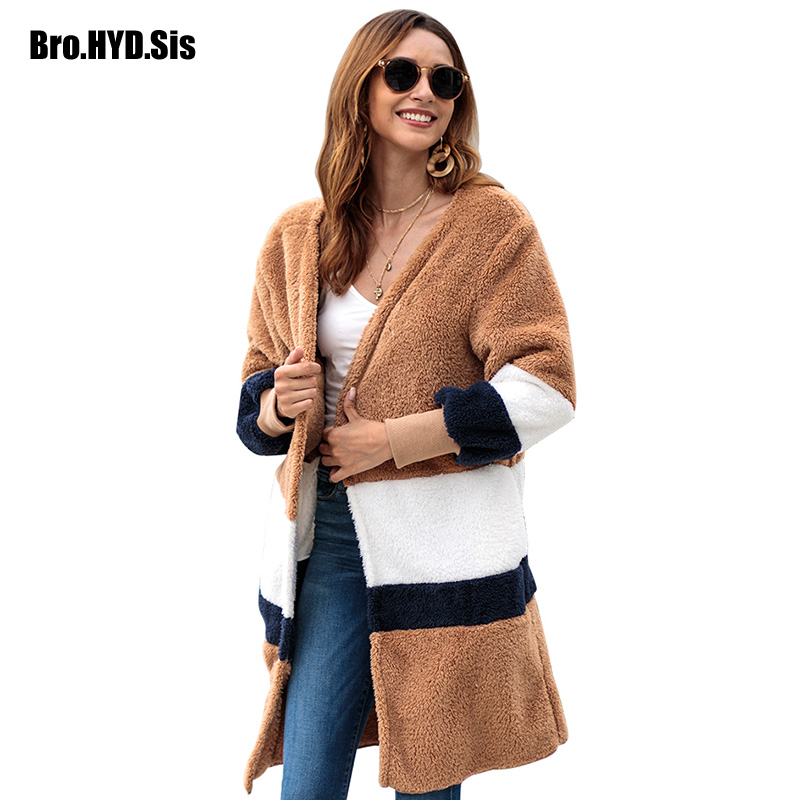 2019 Autumn New Loose Fit Striped Fuzzy Sweater Long Cardigan Plush Coat Open Front Female Tops Khaki Winter Clothes EU Size