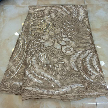 New Nigerian Embroidered Sequined Mesh Lace Fabric Bride Wedding Fabrics Sequins High-quality African Net Tulle Swiss Voile