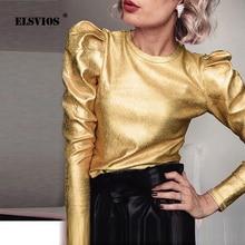 Золотая Бархатная пышная блуза с длинным рукавом, Повседневная рубашка для женщин, Весенняя облегающая верхняя одежда с круглым вырезом, модная уличная Осенняя блузка, Прямая поставка