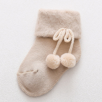 0-2 Years Old Autumn and Winter Baby Socks Boys and Girls Terry Socks Baby Cotton Warm Socks - Beige, 18M