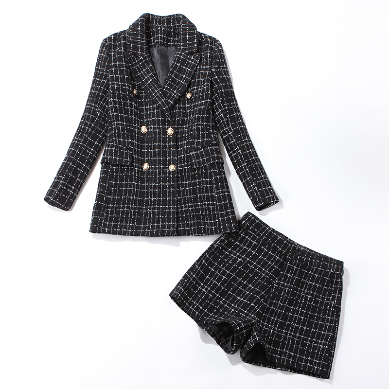 Winter Temperament Women's Suits Pants Set Stylish Slim Double-breasted Plaid Ladies Jacket Office Casual Shorts Suit Two-piece
