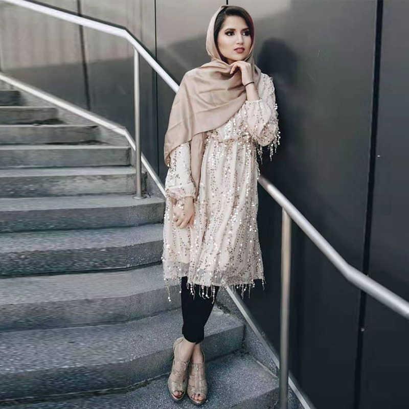 عباية دبي تركيا بلوزة نسائية عربية نسائية طويلة مطرزة بالترتر ملابس اسلامية للنساء