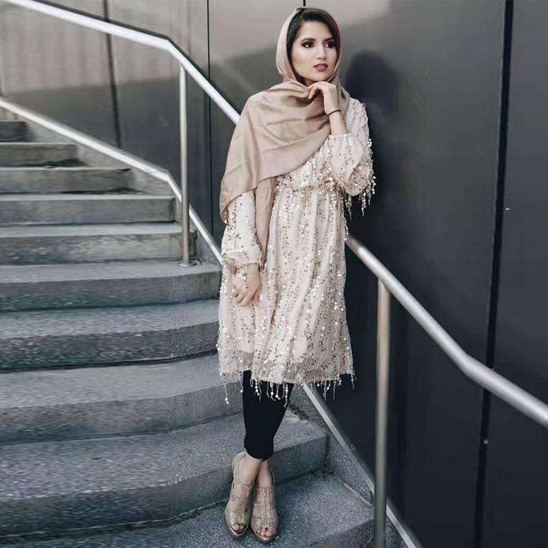 Abaya Dubai Turkey Arabic Top Mujer Muslim Sequin Long Women Tops Islamic Clothing Vetement Femme Musulmane Ropa Musulmana Mujer