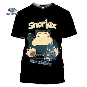 SONSPEE Cartoon Pokemon Snorlax T-shirt 3D Print Men Women Tshirt Casual Summer Short Sleeve Fashion Oversized Shirts Streetwear 1