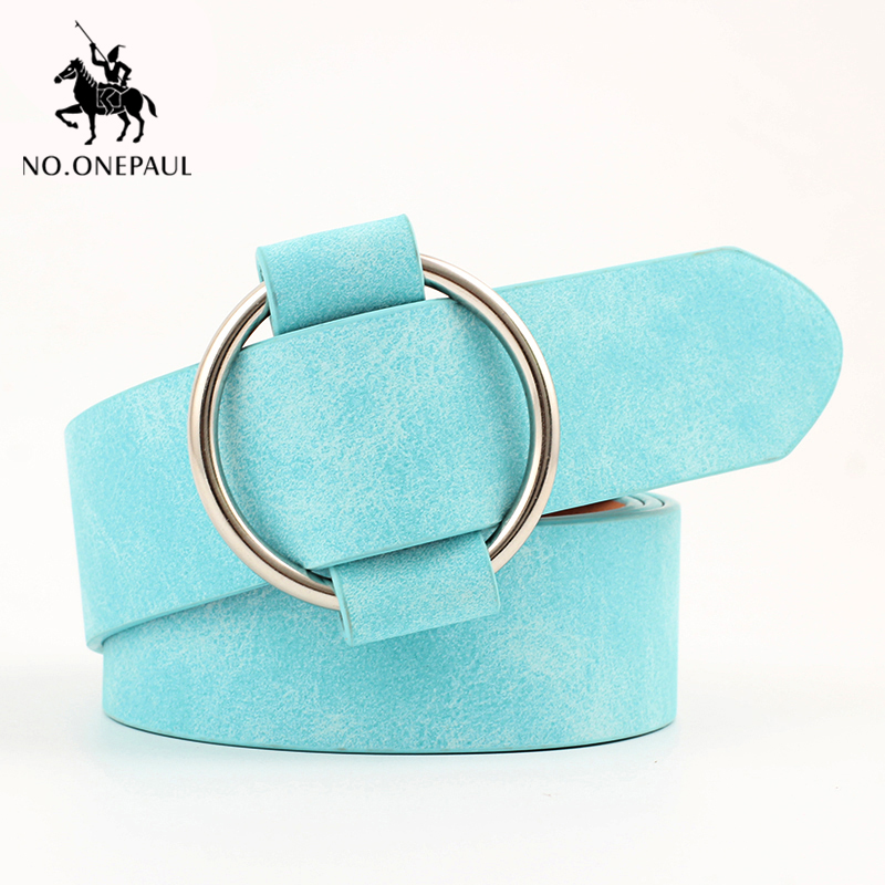 NO.ONEPAUL Women Belt Fashion Retro Ladies Belt High Quality Alloy Round Buckle Luxury Female Waist Belts Cute Free Shipping