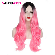 ValenWigs 28 Inches Long Wavy Ombre Wig Two Tones Black To Pink Synthetic Wig Glueless  Cosplay Party Fake Hair Wigs For Women