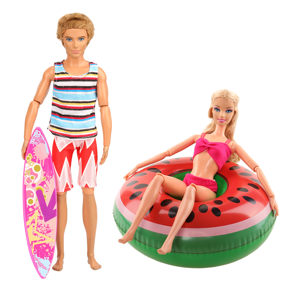 Handmade Ken Clothes Doll Accessories Surfboard Lifebuoy Kids Toys Summer Suit Kits Swim Wear For Barbie DIY Birthday Gift 1/6
