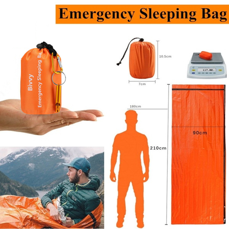 Emergency Bivy Sack, Survival Sleeping Bag Emergency Blanket Lightweight And Compact Survival Gear  With Whistle + Carabiner