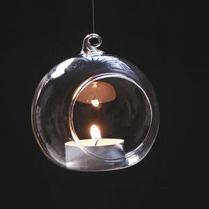 Retro Glass Ball Hanging Stand Candle Holder Wedding Iron Art Home Decoration Table Lantern