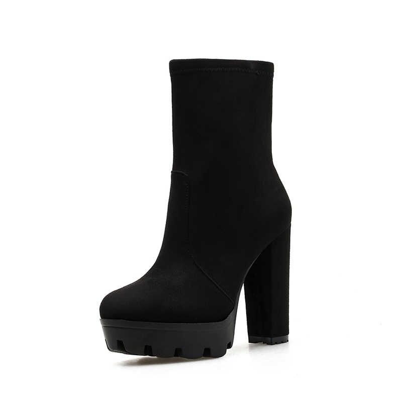 NIUFUNI 2019 kadın yarım çizmeler sonbahar yuvarlak ayak platformu çizmeler moda siyah süet yüksek topuk ayakkabı Botas Mujer