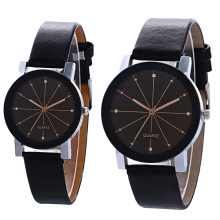 New Couple Lover Watches Quartz Dial Clock PU Leather WristW