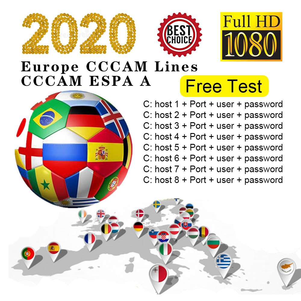 2020 Stable Europe HD Cccams 7/8line For SPAIN Portugal Germany Satellite Ccams Receiver Guarantee 1 Year